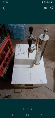 Оборудование для розлива пива,кваса на 2 крана, холодильник, колонна.