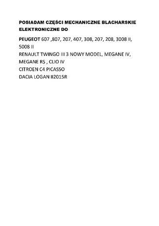 peugeot 607 lift 807 407, 406, 207 ,508, 308 , 3008 II, 5008 II części