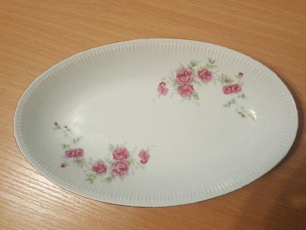 PÓŁMISEK owalny, porcelana Włocławek, talerz, patera w kwiatki