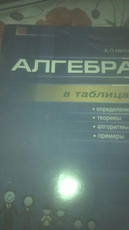 Книги алгебра,геометрия в таблицах