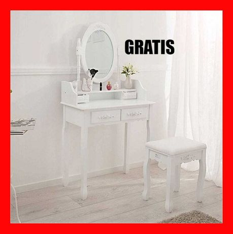 TOALETKA kosmetyczna BIAŁA z lustrem + taboret + GRATIS dostawa