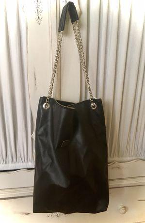 Czarna NOWA torba torebka shopper bag srebrny łańcuch