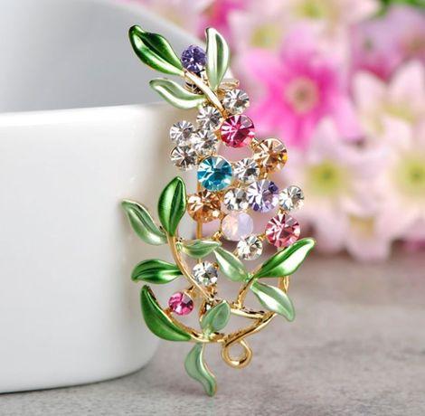 Alfinete de peito floral com cristais coloridos - pregadeira- broche