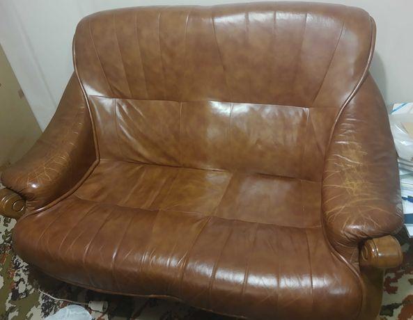 Komplet: sofa, fotel - skóra+dąb