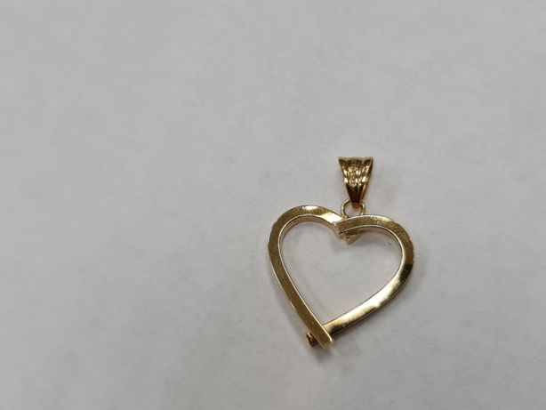 Piękny złoty wisiorek damski/ Serce/ 585/ 1.28 gram/ Dmuchane