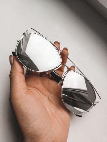 Okulary przeciwsłoneczne lustra srebrne zara
