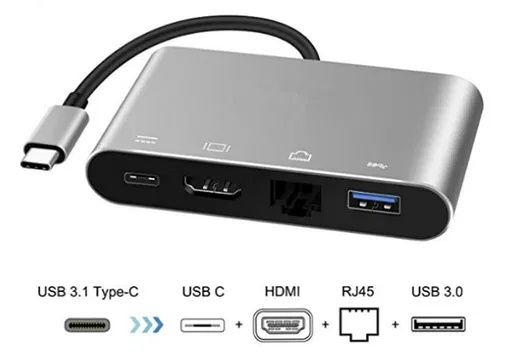 Адаптер-хаб 4K USB Type-C USB 3.1->HDMI+USB 3+RJ45+Type/сетевая карта