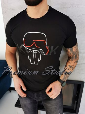 XXL / Karl Lagerfeld męska koszulka tshirt czarna Ikonik