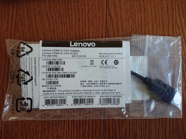 Nowa, oryginalna przejściówka / adapter Lenovo HDMI do VGA 0B47069