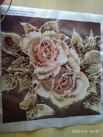"""Картина бісером """"карамельна роза"""""""