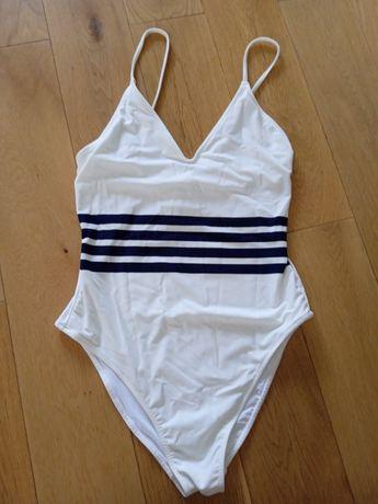 Strój kąpielowy kostium biały granat 44 XXL nowy