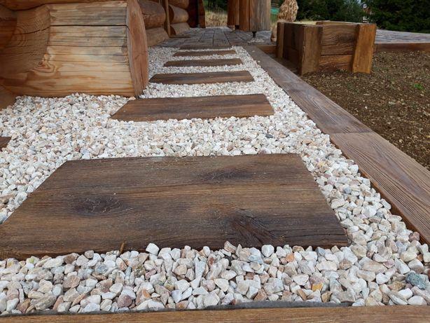 Trep ogrodowy, drewno betonowe, płyta drewniana, deska na ścieżki