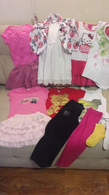 Летние вещи платье сарафан юбка штаны лосины футболка майка 4-6 лет
