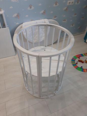 Babymax Каприз 8 в 1 Кроватка Круглая/Овальная Трансформер, Бук, Белая