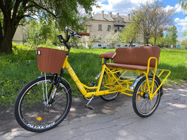 Трехколесный велосипед для взрослых Трио пассажирский, трехместный