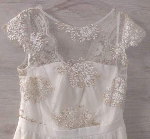 Przepiękna sukienka ślubna 38/40 ecri, koronka jak nowa!