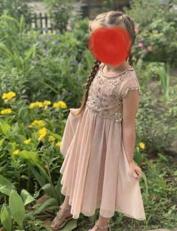 Платье фатин паетки пудра  Размер 104-110 см