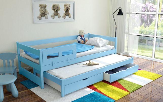 Łóżko podwójne TOMMY wykonane jest z drewna sosnowego