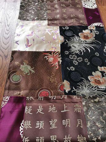 Ekskluzywny SZAL, jedwabny patchwork, wzory orientalne, japońskie