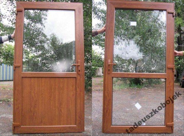 Drzwi PCV 90 X 200 Złoty Dąb sklepowe Poznań