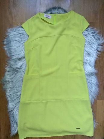 Sukienka neon kieszenie
