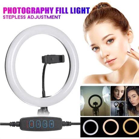 Кольцевая LED светодиодная селфи лампа 26 см + штатив в ПОДАРОК