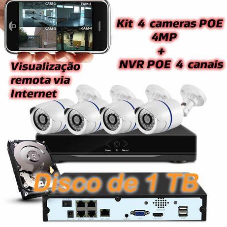 Kit POE 4 cameras 4mp 1TB video vigilância visualização em telemovel