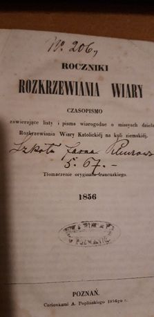 Roczniki Rozkrzewiania Wiary - Poznań. 1856 o missyach, rzadkość