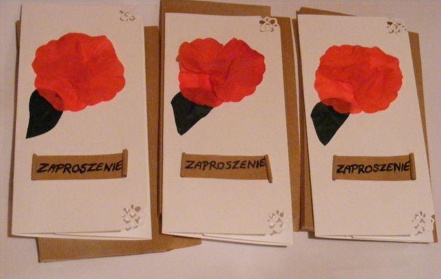 Przestrzenne zaproszenia ślubne + koperty,winietki