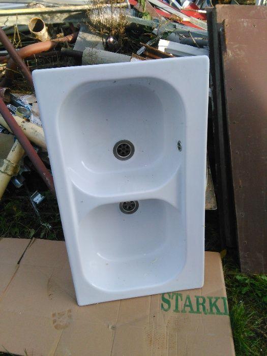 Zlew porcelanowy / ceramiczny - dwie komory. Głęboki poręczny