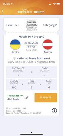 Украина -Австрия Билет