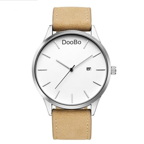 Zegarek naręczny na pasku biały jasny brązowy data datownik dzień