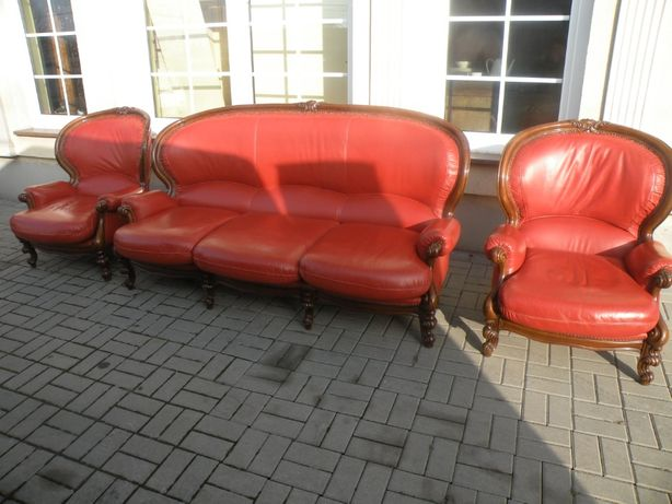 Sofa i 2 fotele w Stylu Ludwika Skóra!!!