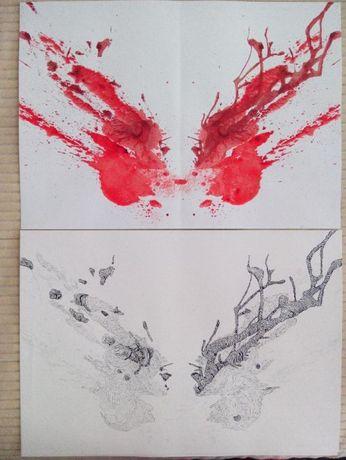 Pintura desenho original sangue Rorscharch - quadro tinta china linha