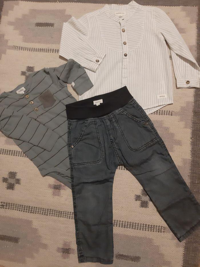 Zestaw NEWBIE rozm.86/92 spodnie koszula body Błonie - image 1