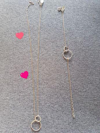 Srebrny komplet pozłacane łańcuszek i bransoletka
