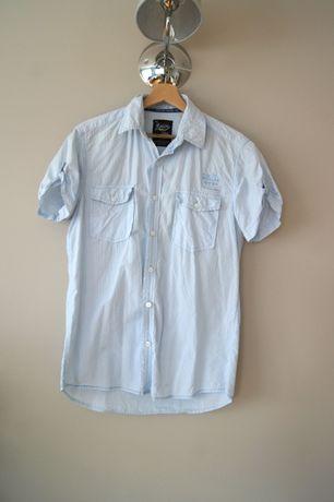House jasnoniebieska koszula w paski turusowa z krotkimrekawem 36 38SM