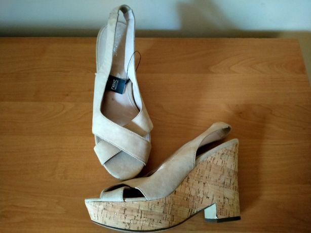 Next cieliste beżowe sandały nude koturny rozmiar 42 czółenka