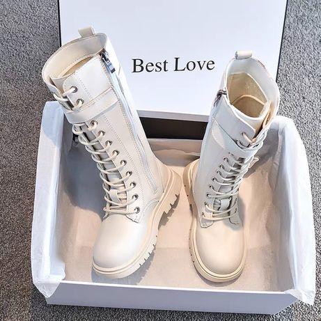 Демисезонные сапоги ботинки на девочку на шнуровке с молнией тренд 202
