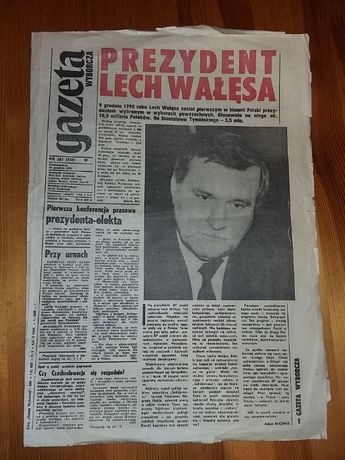 Gazeta Wyborcza Nr 287 z 10 XII 1990r. Lech Wałęsa Prezydentem Polski