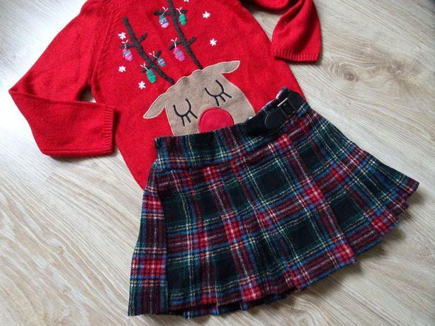 NEXT spódniczka spódnica w kratkę na święta 98