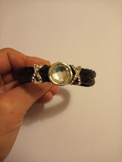 Skórzana bransoletka z cyrkoniami i kryształem Swarovski