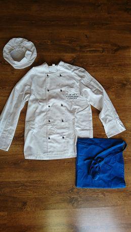 Strój kucharski, fartuch-kitel, zapaska,czepek
