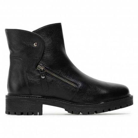 Оригінальні шкіряні чорні жіночі черевики geox (d04ftf-00085-c9999)