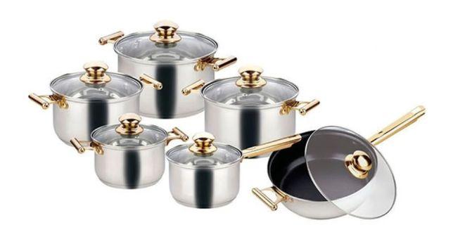 Набор кастрюль со сковородой с крышками и фритюром Goldteller GT-1330