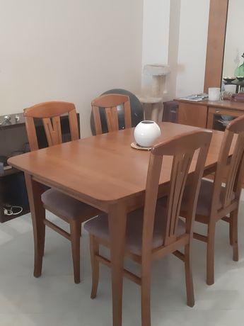 Mesa de jantar madeira maciça com 6 cadeiras