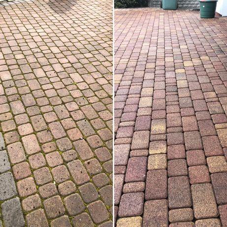 Mycie czyszczenie kostki brukowej elewacji dachów, Koszenie trawy