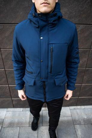 Мужская Зимняя Парка до -20с Куртка на Флисе Soft Shell Tetris Синяя