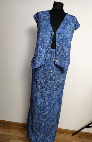 komlet maxi TANIO ostatnia szt jeans guziczki spodnica kamizelka