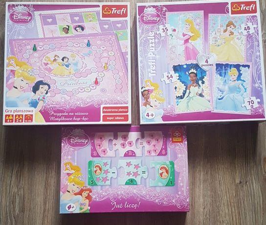 Puzzle i gry dla dziewczynki księżniczki stan idealny jak nowe